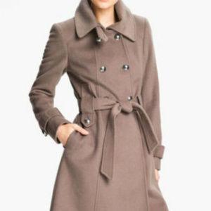 Tahari M 8 10 Taupe mink Coat Wool Blend belt